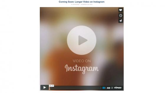 instagram augmente la dur e maximale de ses vid os organiques 60 secondes socialshaker. Black Bedroom Furniture Sets. Home Design Ideas