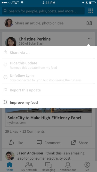 3 nouveaut s linkedin filtrer le flux d 39 actualit sauvegarder un article rechercher une info. Black Bedroom Furniture Sets. Home Design Ideas