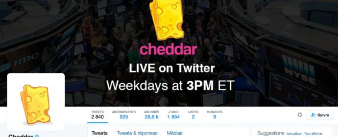 Cheddar diffuse une quotidienne tech et startup en direct exclusive sur Twitter