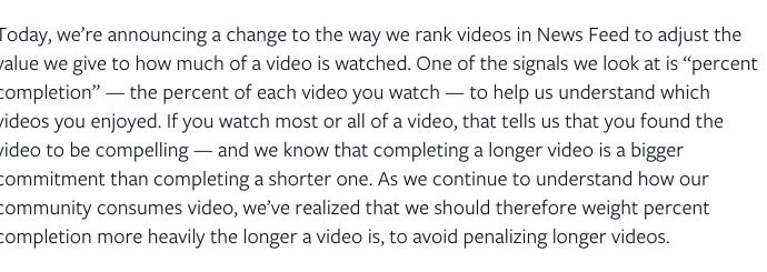 L'algorithme de Facebook mis à jour pour booster les vidéos longues