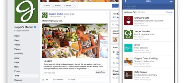 Les Pages Facebook peuvent publier des offres d'emploi