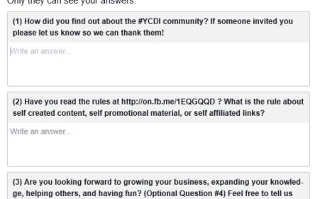 Les groupes Facebook peuvent proposer un questionnaire pour valider les adhésions