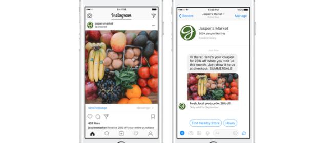 Les publicités de conversation Messenger arrivent sur Instagram