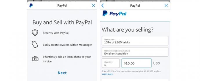 Les vendeurs peuvent facturer les acheteurs via PayPal et Messenger