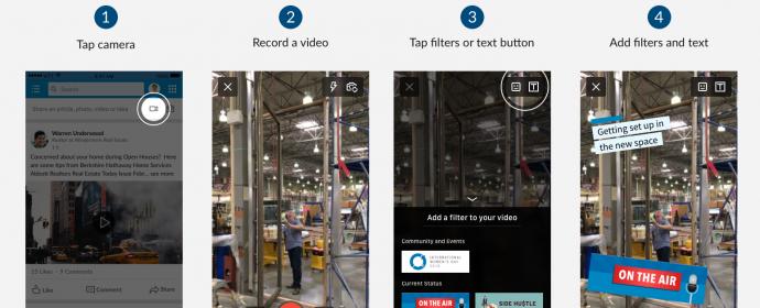 Les vidéos LinkedIn s'enrichissent de filtres et texte