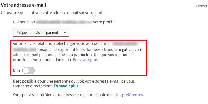 Linkedin supprime l'export des adresses e-mails des relations
