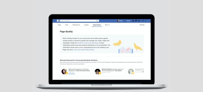 Facebook ajoute un onglet Qualité aux Pages et supprime par anticipation certaines Pages