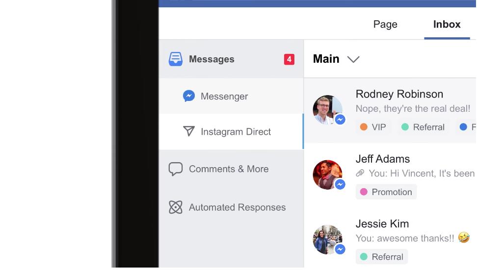 Les Pages Facebook pourront bientôt répondre aux messages privés d'Instagram