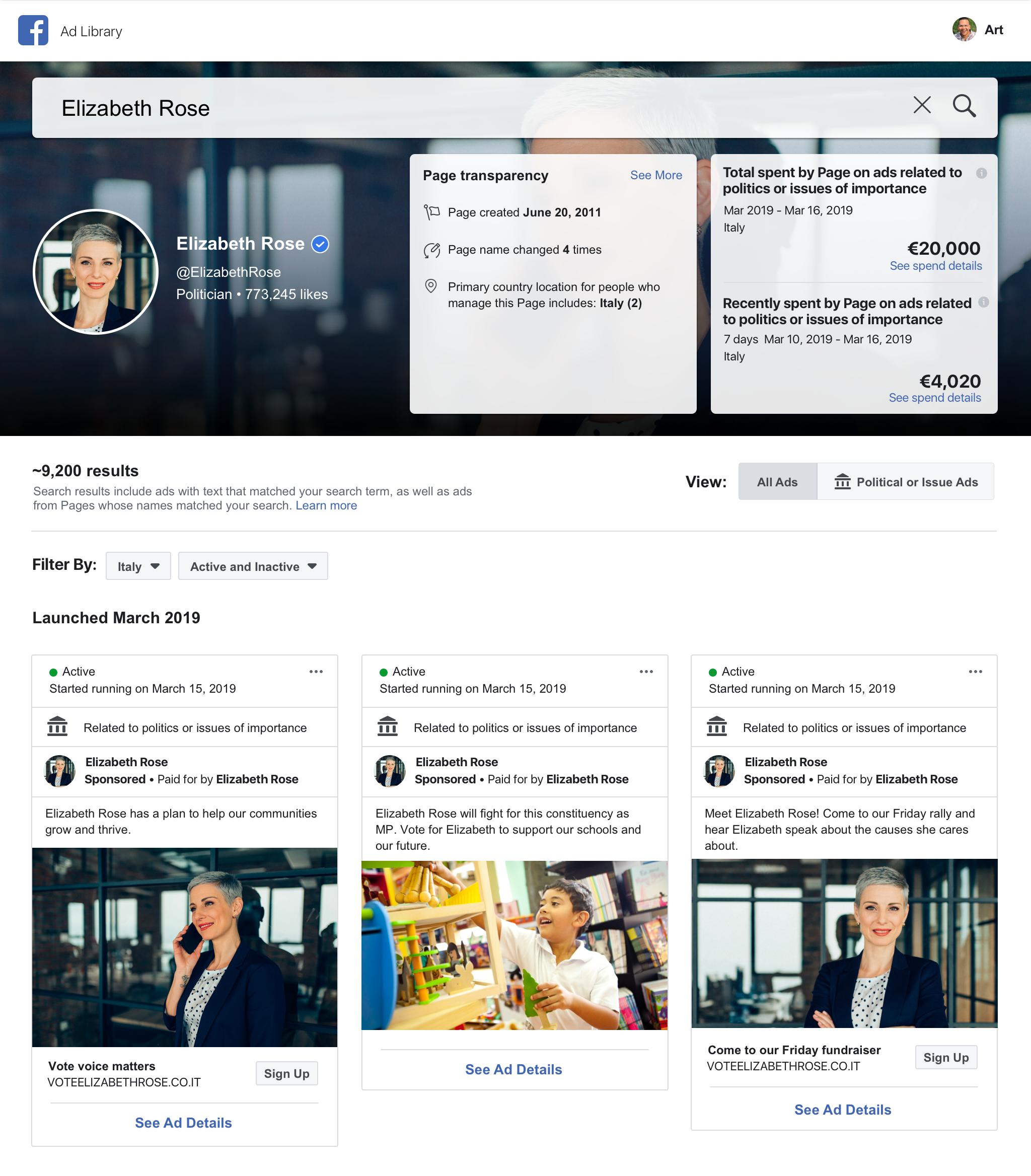 Vous pouvez consulter toutes les publicités actives Facebook à partir d'un moteur de recherche
