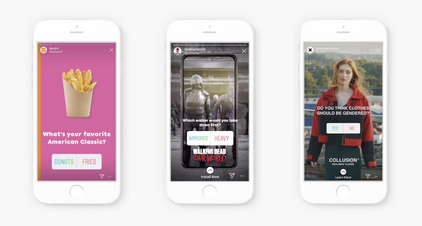Les marques peuvent ajouter un sticker sondage dans leurs publicités pour les Stories Instagram